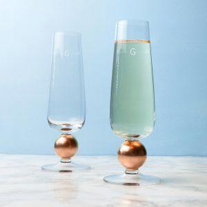 Monogrammed LSA Set Of Two Rose Gold Champagne Glasses