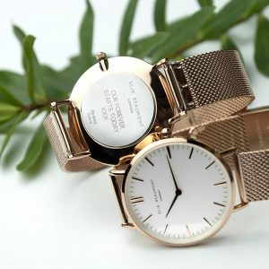 Personalised Rose Gold Mesh Strapped Watch With White Dial Personalised Fathers Day Gifts