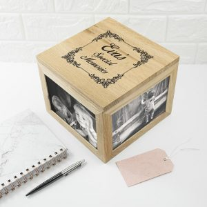 Vintage Style Oak Photo Keepsake Box 4